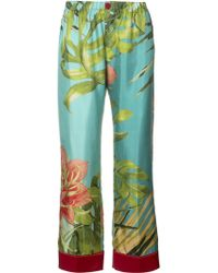 For Restless Sleepers - Tropical Print Silk Trousers - Lyst