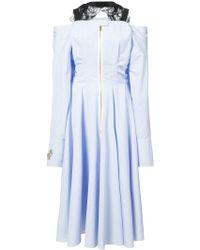 Natasha Zinko | Cold-shoulder Pinstriped Cotton-blend Midi Dress | Lyst