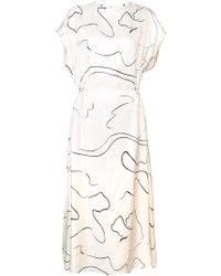 The Row - Lyde Printed Silk Midi Dress - Lyst