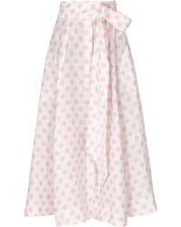 Lisa Marie Fernandez - Polka-dot Printed Linen Midi Skirt - Lyst