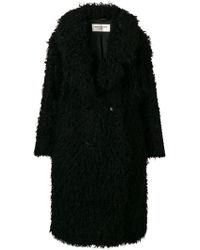 Saint Laurent - Oversized Double-breasted Faux Shearling Coat - Lyst