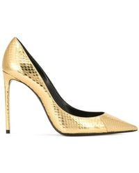 1d9338d70a1 Saint Laurent Zoe 85 Nude Patent Leather Heeled Pumps in Natural - Lyst