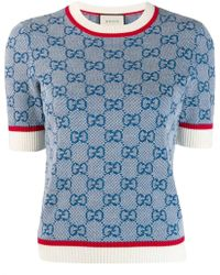 a753e42d7 Gucci Bow Brooch Knitted Top in Blue - Lyst