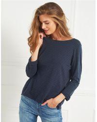 The White Company - Cotton Stripe Button Back T-shirt - Lyst