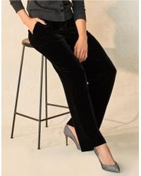 The White Company - Velvet Pleat Trousers With Silk - Lyst