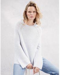 The White Company - Garter Stitch Sweater With Alpaca - Lyst