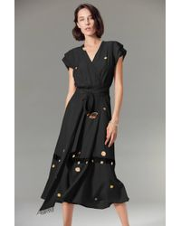 VEDA - Gigli Silk Wrap Dress Black Shell - Lyst