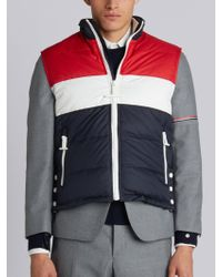 Thom Browne - Three Panel Downfilled Funnel Collar Ski Vest In Mini Ripstop - Lyst