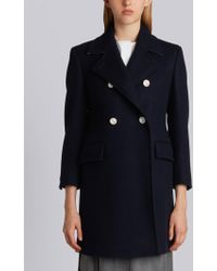 Thom Browne - Double Breasted Chesterfield Overcoat In Navy Heavy Merino Melton - Lyst