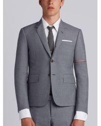 Thom Browne - High Armhole Single Breasted Sport Coat With Red, White And Blue Selvedge Arm Placement In School Uniform Plain Weave - Lyst