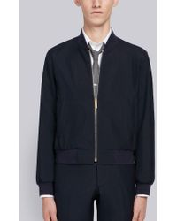 Thom Browne - Zip Front Blousson Ribbed Jacket With Center Back Red, White And Blue Selvedge In School Uniform Plain Weave - Lyst