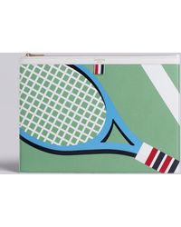 Thom Browne - Large Zipper Laptop Holder (39x28cm) With Tennis Racket Intarsia In Pebble Grain & Calf Leather - Lyst