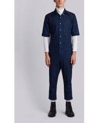 Thom Browne - Half Sleeve Shirt With Low Rise Skinny Jumpsuit In Washed Denim - Lyst