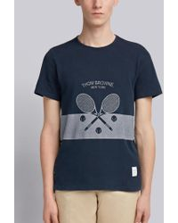Thom Browne - Washed Short Sleeve Tee With Tennis Icon In Classic Pique - Lyst