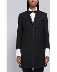 Thom Browne - Classic Chesterfield With Grosgrain Tipping In 2 Ply Fresco - Lyst