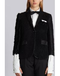 Thom Browne - High Armhole Single Breasted Sport Coat In Double Bonded Heavy Silk Charmeuse With Allover Funmix Embroidery - Lyst