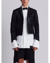 Thom Browne - Patchwork Classic Single Breasted Sport Coat With Tail Extension In Patchwork Embroidered Black Tie Funmix - Lyst