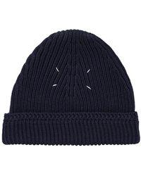 Maison Margiela - Knit Wool Hat Navy - Lyst