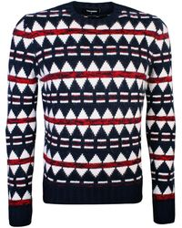 DSquared² - Blue Angora Jacquard Graphic Knit Pullover - Lyst