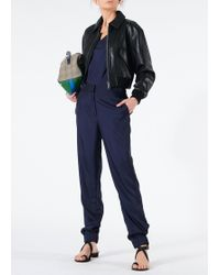Tibi - Leather Gus Cropped Jacket - Lyst