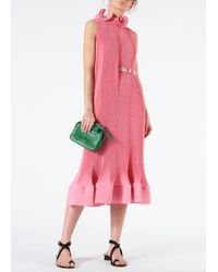 Tibi - Pleated Sleeveless Dress With Removable Belt - Lyst