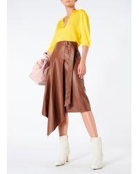 Tibi - Tissue Leather Asymmetric Drape Skirt - Lyst