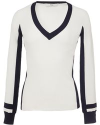 Tibi - Graphic Striped Panel V-neck Pullover - Lyst