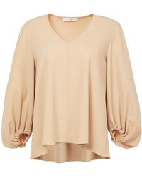 Tibi - Structured Crepe V-neck Shirred Sleeve Top - Lyst