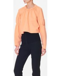 Tibi - Sculpted Knit Shirred Sweatshirt - Lyst