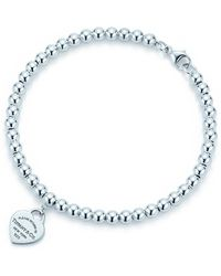 Tiffany & Co. - Mini Heart Tag Sterling Silver Bead Bracelet - Lyst