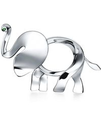Tiffany & Co   Tiffany Save The Wild Elephant Brooch In Silver With A Tsavorite, Extra Large   Lyst