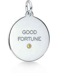 """Tiffany & Co. - Tiffany Charms """"good Fortune"""" Tag In Sterling Silver With A Yellow Diamond - Lyst"""