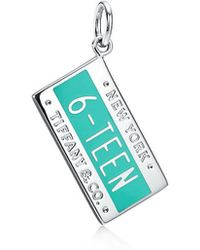 "Tiffany & Co. - Tiffany Charms ""16"" Charm In Sterling Silver With Tiffany Blue. Enamel Finish - Lyst"