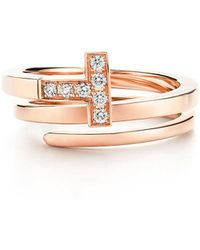 Tiffany & Co. - Tiffany T Square Wrap Ring In 18ct Rose Gold With Diamonds - Size 4 - Lyst