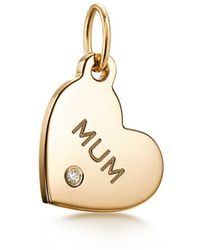 """Tiffany & Co. - Tiffany Charms """"mum"""" Heart Tag In 18ct Gold With A Diamond, Mini - Lyst"""