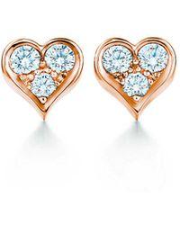Tiffany & Co. - Tiffany Heartstm Earrings In 18k Rose Gold With Diamonds - Lyst