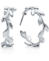Tiffany & Co. - Paloma Picasso® Olive Leaf Hoop Earrings In Sterling Silver - Lyst