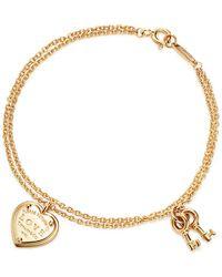 Tiffany & Co. - Return To Tiffanytm Love Heart Tag Key Bracelet In 18k Gold, Large - Lyst