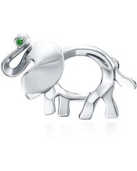 Tiffany & Co. - Tiffany Save The Wild Elephant Brooch In Silver With A Tsavorite, Small - Lyst