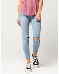 Almost Famous - Premium Fray Ankle Womens Skinny Jeans - Lyst