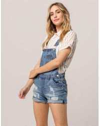 Almost Famous - Roll Cuff Ripped Womens Denim Shortalls - Lyst
