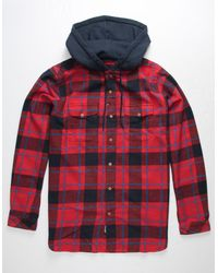 Imperial Motion Parker Red Mens Hooded Flannel Shirt - Blue