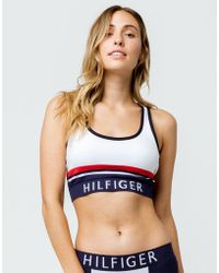 e90e920855b8ab Lyst - Tommy Hilfiger Lightly Lined Mesh Triangle Bralette in Blue