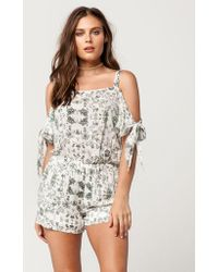 Mimi Chica - Floral Cold Shoulder Womens Romper - Lyst