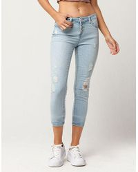 Almost Famous - Button Front Womens Ankle Jeans - Lyst
