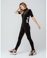 fd0ed5d0021f Lyst - Fila High Neck Unitard Legging Jumpsuit With Front Zip Detail ...