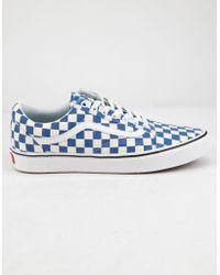 63b68f3cd46 Vans - Comfycush Checker Old Skool Lapis Blue   True White Shoes - Lyst