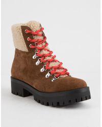 Steve Madden - Bitter Chestnut Suede Womens Hiking Boots - Lyst