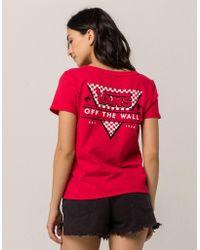 Vans - Skimmer Checker Red Womens Tee - Lyst