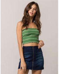 Tres Bien - Très Bien Ribbed Stripe Olive Womens Tube Top - Lyst